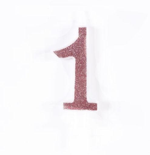Candela 7 cm Glitter Rosa Gold numero 1