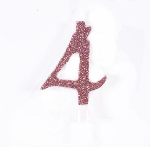 Candela 7 cm Glitter Rosa Gold numero 4