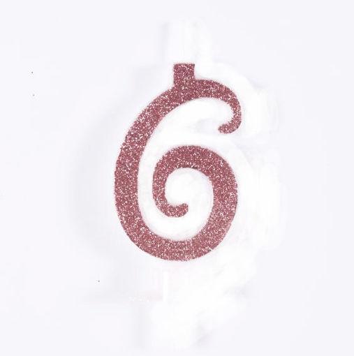 Candela 7 cm Glitter Rosa Gold numero 6