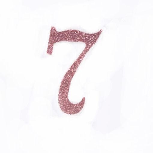 Candela 7 cm Glitter Rosa Gold numero 7