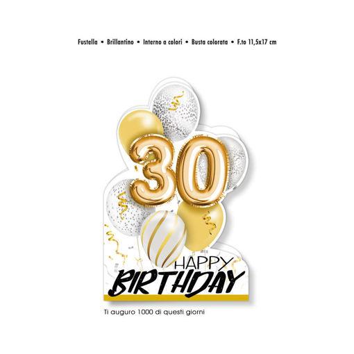 Biglietto Auguri sagomato Happy Birthday 30 anni