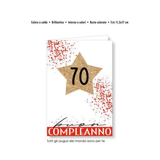 Biglietto Auguri numeri eleganti stella 70 anni