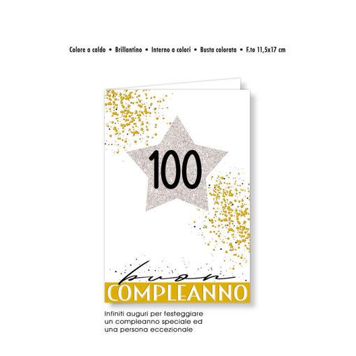 Biglietto Auguri numeri eleganti stella 100 anni