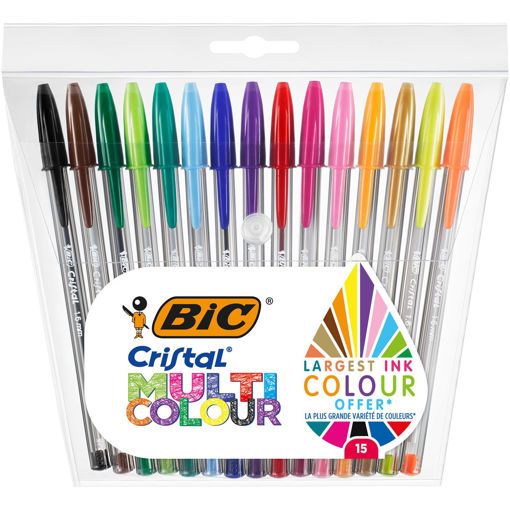 15 Penne Bic Cristal Multicolore