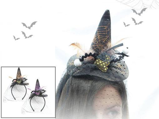 Cerchietto Cappello strega con velo e occhi
