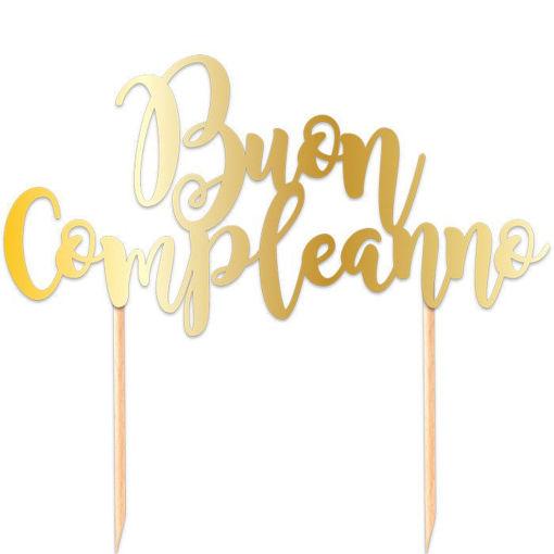Cake Topper Italic 20x13 cm Buon Compleanno Oro