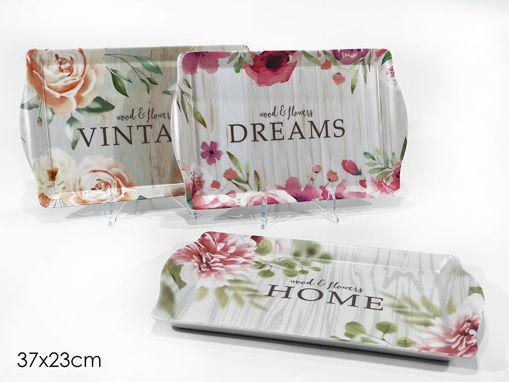 Vassoio con stampa fiori 37x23 cm