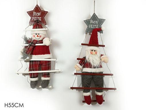 Dietroporta personaggio natalizio con scala altezza 55 cm