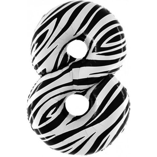 Palloncino Mylar 102 cm Zebrato numero 8
