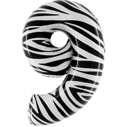 Palloncino Mylar 102 cm Zebrato numero 9