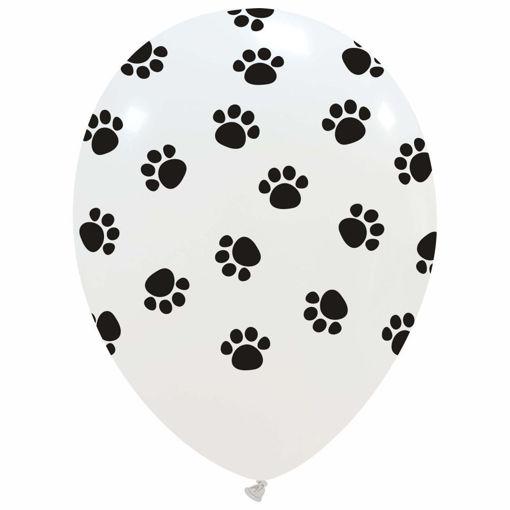 Palloncino in Lattice 12'' Bianco con stampa Zampette nere 100 pezzi