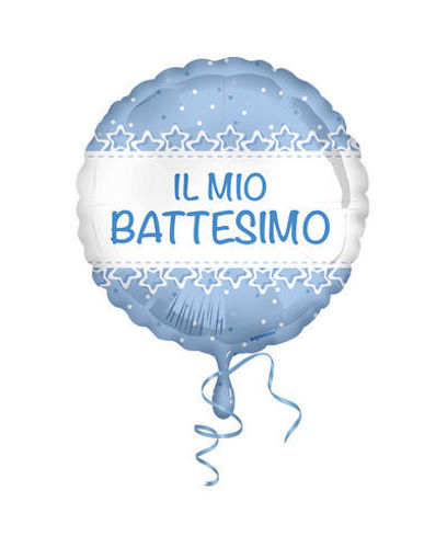 Palloncino Mylar 18'' 45 cm Battesimo stelle azzurro