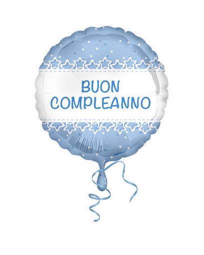 Palloncino Mylar 18'' 45 cm Buon Compleanno stelle azzurro