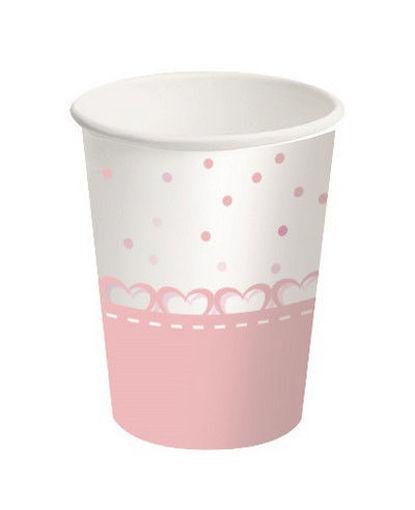 Bicchiere carta 250 ml Baby Cuori Rosa 8 pezzi