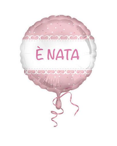 Palloncino Mylar 18'' 45 cm E' Nata cuori rosa
