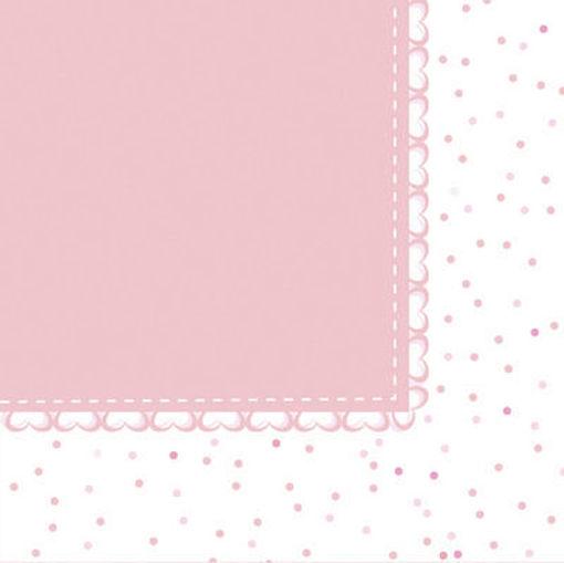 Tovaglioli 33x33 cm Baby Cuori Rosa 20 pezzi