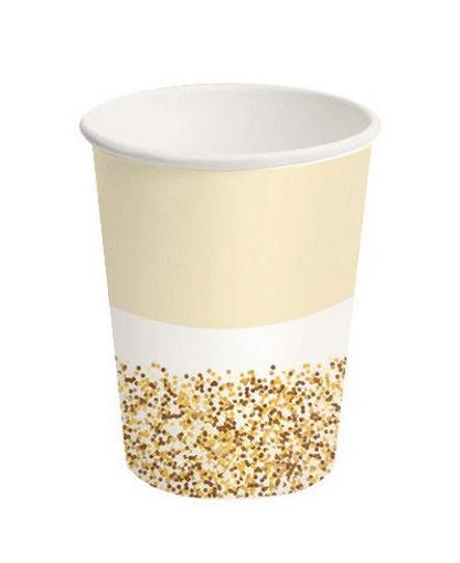 Bicchieri in carta 250 ml Glitter Oro 8 pezzi