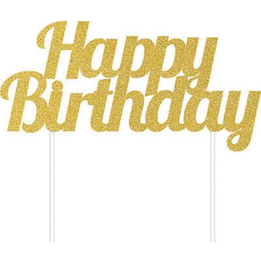 Cake Topper Happy Birthday Oro Glitter 15x17 cm
