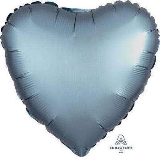 """Palloncino Mylar 17"""" 42 cm Cuore Satinato Blu"""