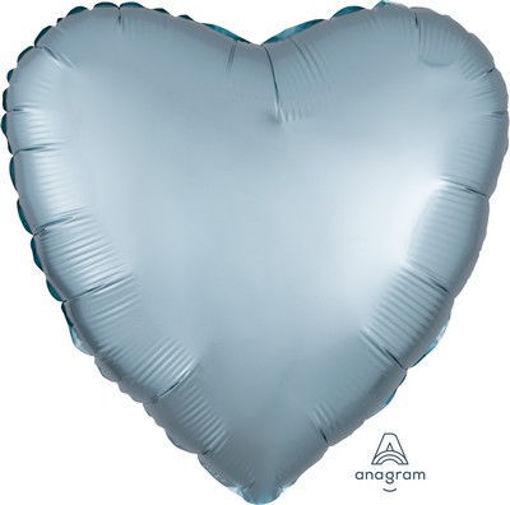 """Palloncino Mylar 17"""" 42 cm Cuore Satinato Blu Pastello"""