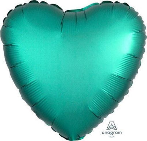 """Palloncino Mylar 17"""" 42 cm Cuore Satinato Verde Giada"""