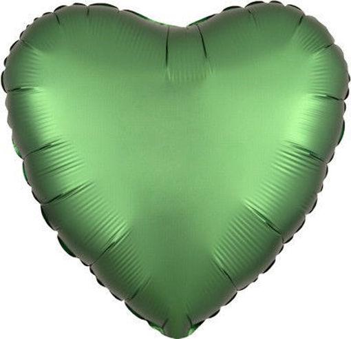 """Palloncino Mylar 17"""" 42 cm Cuore Satinato Verde Smeraldo"""