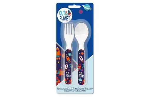 set Posate Pianeti Bimbo forchetta e cucchiaio