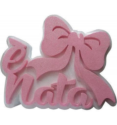 Polistirolo E' Nata e Fiocco rosa 37x30 cm spessore 5 cm