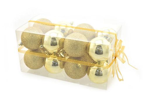 Box 16 sfere 8 cm Oro Lucido con glitter