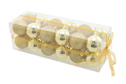Box 24 sfere 6 cm Oro Lucido con glitter