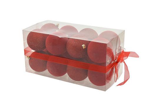 Box 16 sfere 8 cm Velluto Rosso con glitter