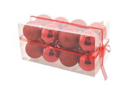 Box 16 sfere 8 cm Rosso Lucido con glitter