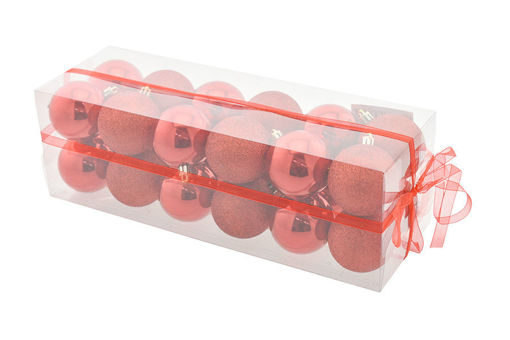 Box 24 sfere 6 cm Rosso Lucido con glitter